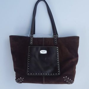 NWT Michael Kors suede studded coffee Astor tote